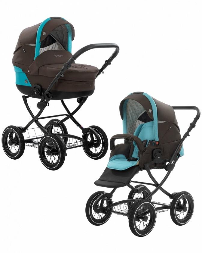 Коляска детская Noordi Polaris 2/1 CL, черно-голубаяДетские коляски 2 в 1<br>Коляска детская Noordi Polaris 2/1 CL, черно-голубая<br>