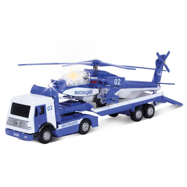 Трейлер Милиция/Полиция с вертолетом, металлический, инерционный, свет и звукВертолеты<br>Трейлер Милиция/Полиция с вертолетом, металлический, инерционный, свет и звук<br>