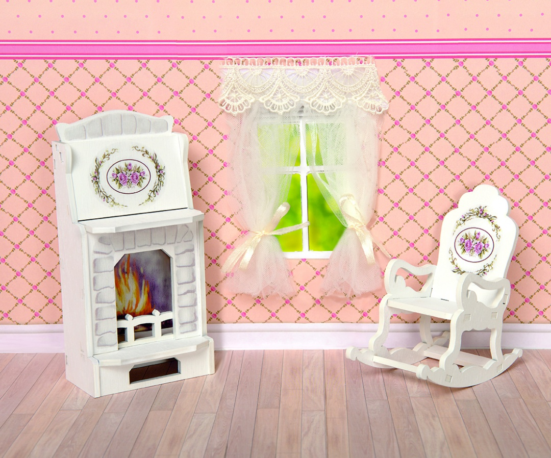 Купить Набор мебели для кукольного дома - Камин и кресло-качалка, коллекция Прованс, ЯиГрушка