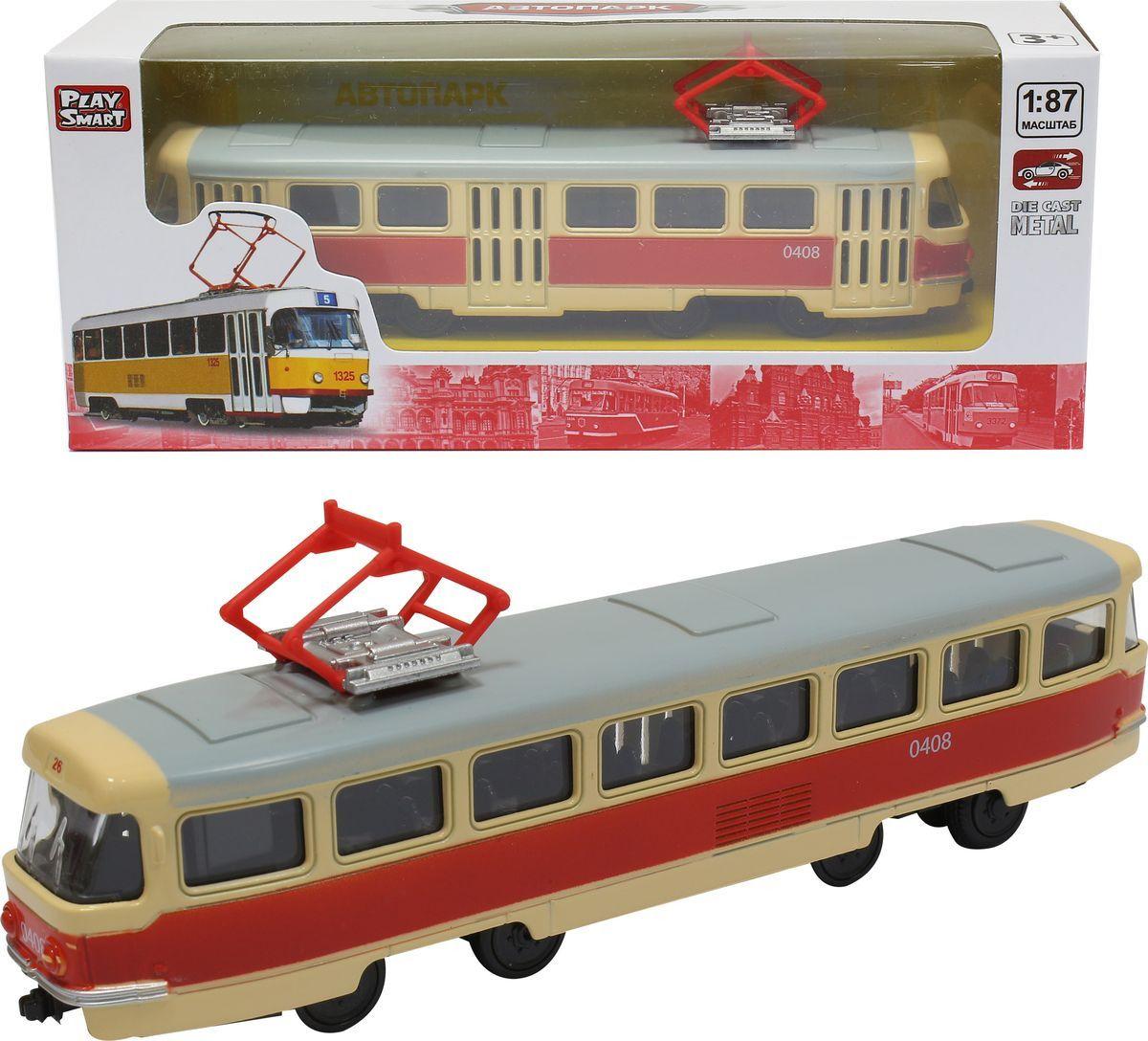 Купить Инерционный металлический трамвай, размер 16 x 6 x 8, 5 см., 1:87, Play Smart