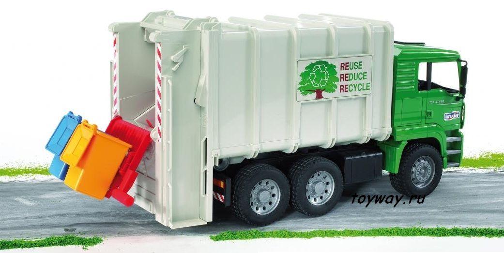Мусоровоз MAN с задней загрузкой мусорных корзин - Игрушки Bruder, артикул: 7762