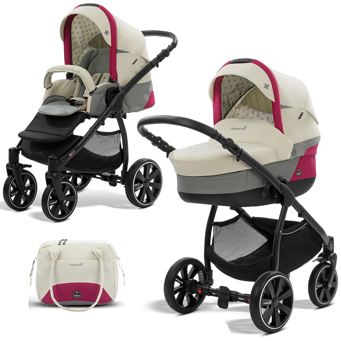 Коляска детская 2 в 1 - Polaris Sport, молочный/розовыйДетские коляски 2 в 1<br>Коляска детская 2 в 1 - Polaris Sport, молочный/розовый<br>