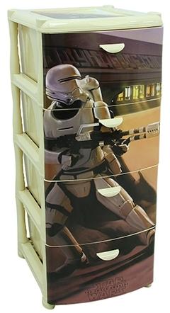 Комод Звездные войны, 4 секции, бежевыйКорзины для игрушек<br>Комод Звездные войны, 4 секции, бежевый<br>