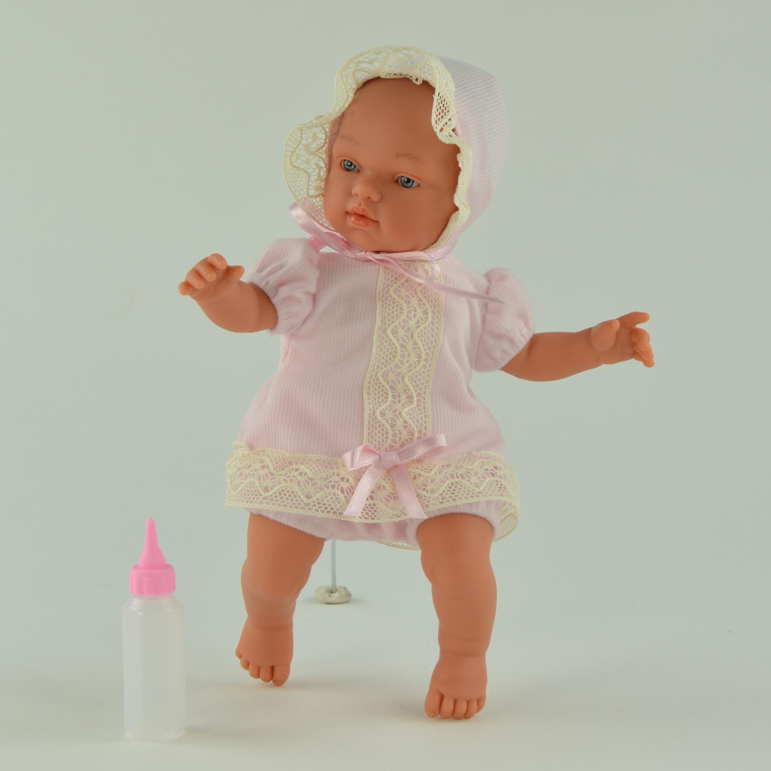 Кукла Гугу в розовом костюмчике с бутылочкой, 27 смКуклы ASI (Испания)<br>Кукла Гугу в розовом костюмчике с бутылочкой, 27 см<br>