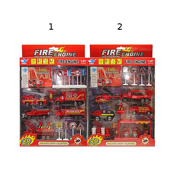 Купить Игровой набор - Пожарная станция, 20 предметов, JUNFA TOYS