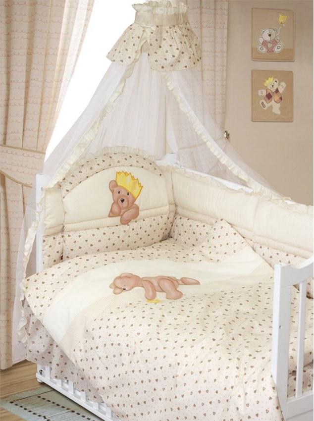 Комплект в кроватку – Мишка-Царь, 8 предметов, бежевыйДетское постельное белье<br>Комплект в кроватку – Мишка-Царь, 8 предметов, бежевый<br>