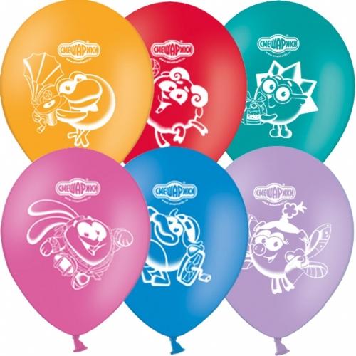 Набор шариков с рисунком – СмешарикиВоздушные шары<br>Набор надувных цветных шаров с рисунком по мотивам известного детского мультфильма «Смешарики». Шарики прочные, легко надуваются и быстро не лопаются. Отличное украшение для детского веселого праздника.<br>