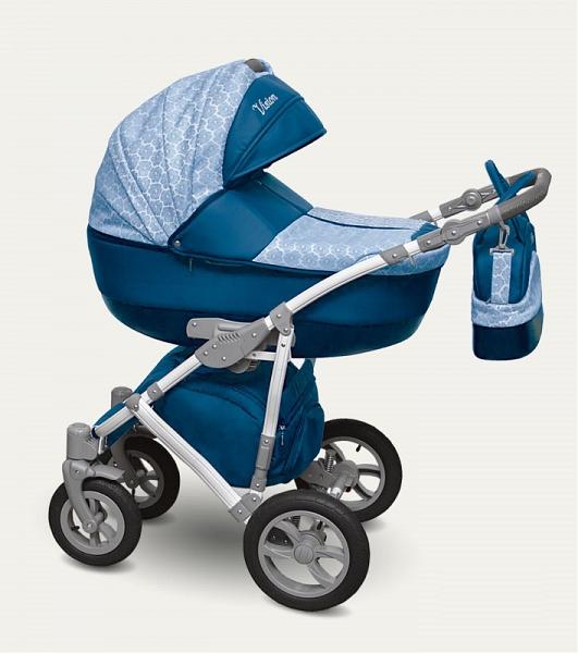 Детская коляска Camarelo Vision 2 в 1, синяя с цветами