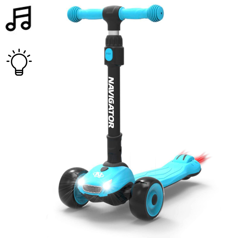 Купить Самокат Navigator 3-колесный голубой, складной, управление наклоном, PU колеса 2х120мм/80мм, алюминий, светящиеся фары, регулируемый руль, 1TOY