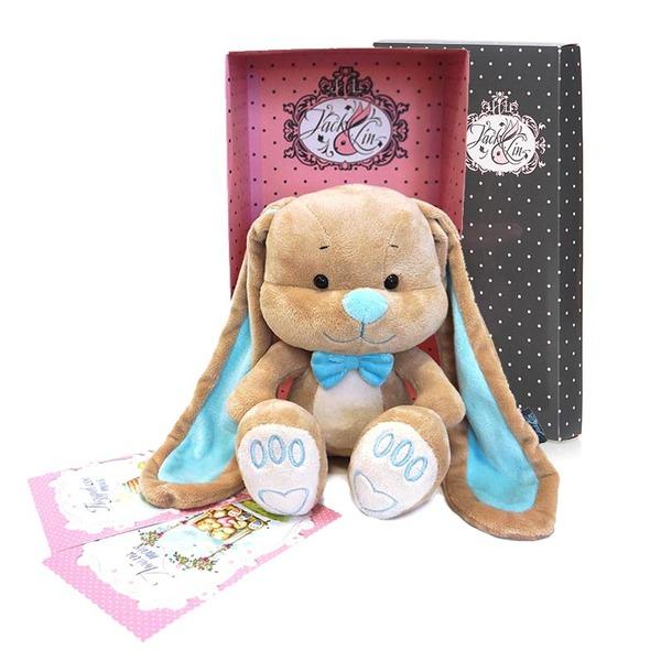 Мягкая игрушка - Зайчик Жак с бабочкой, 25 смЗайцы и кролики<br>Мягкая игрушка - Зайчик Жак с бабочкой, 25 см<br>