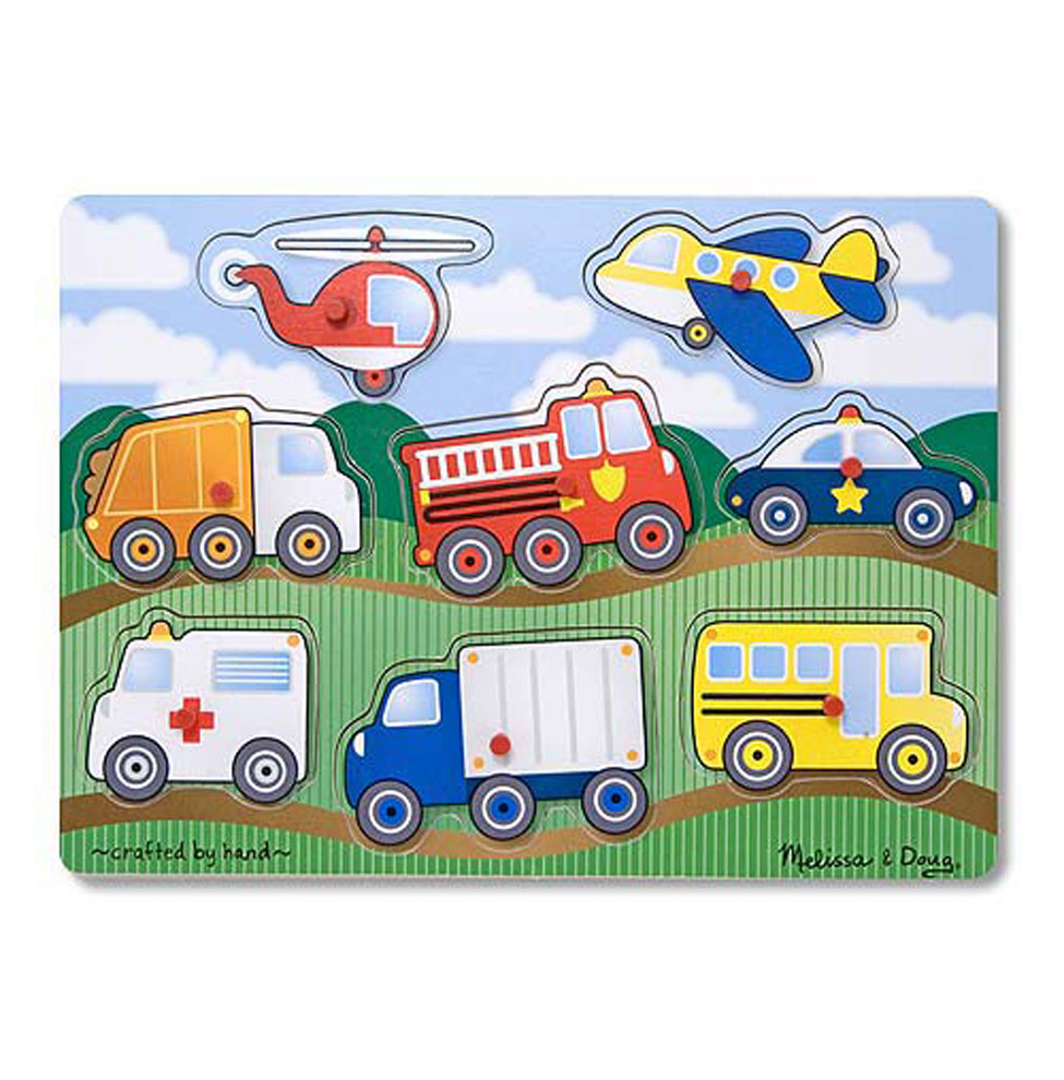Купить Пазл из серии - Мои первые пазлы – Транспорт, с кнопкой, 8 элементов, Melissa&Doug