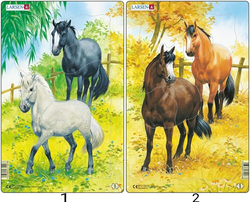 Купить Пазл – Лошади, 10 элементов, 2 вида, Larsen