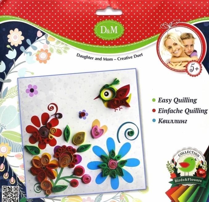 Набор для квиллинга «Цветы и птицы»Аппликация, пайетки<br>Набор для квиллинга «Цветы и птицы»<br>