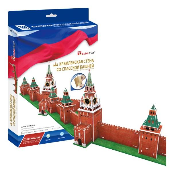 Объемный 3D-пазл Кремлевская стена со Спасской башней, РоссияПазлы объёмные 3D<br>Объемный 3D-пазл Кремлевская стена со Спасской башней, Россия<br>
