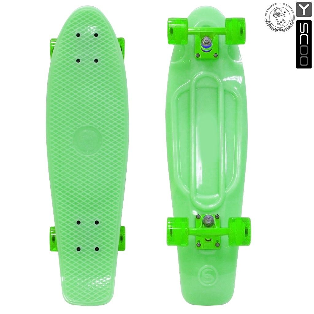 Скейтборд виниловый Y-Scoo Big Fishskateboard Glow 27 402E-G с сумкой, зеленыйДетские скейтборды<br>Скейтборд виниловый Y-Scoo Big Fishskateboard Glow 27 402E-G с сумкой, зеленый<br>