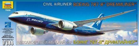 Сборная модель - Авиалайнер Боинг 787-8Модели самолетов для склеивания<br>Модель для склеивания Авиалайнер Боинг 787-8<br>
