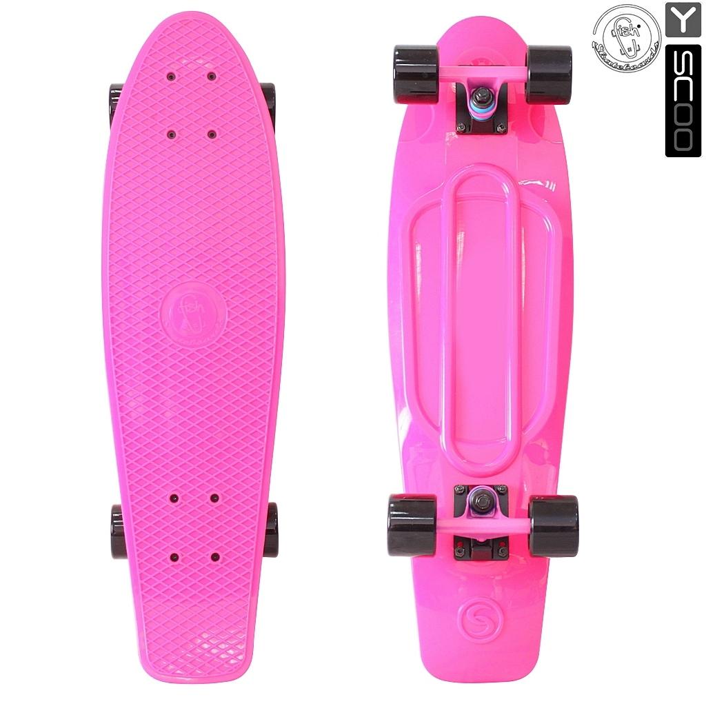 Скейтборд виниловый Y-Scoo Big Fishskateboard 27  402-P с сумкой, розовый - Детские скейтборды, артикул: 153176