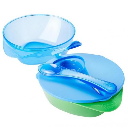 Купить Набор глубоких тарелочек с крышкой и ложкой, 2 шт., голубой, Tommee Tippee