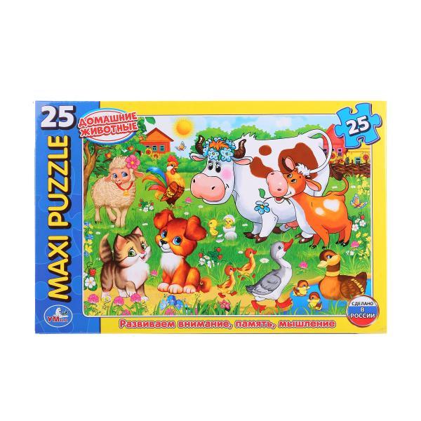 Макси-пазл Домашние животные, 25 картонных деталейПазлы для малышей<br>Макси-пазл Домашние животные, 25 картонных деталей<br>