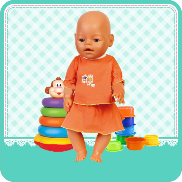 Карапуз Комплект одежды для куклы: футболка, юбка, размер 40 – 42 см.