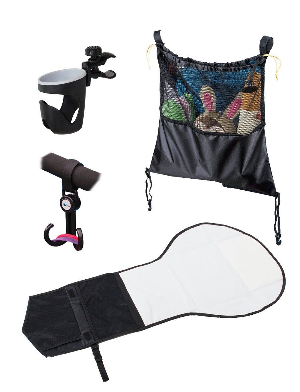 Набор аксессуаров для прогулок с коляской: сетчатая сумка, держатель для бутылочек, крючок, набор для смены подгузниковАксессуары к коляскам<br>Набор аксессуаров для прогулок с коляской: сетчатая сумка, держатель для бутылочек, крючок, набор для смены подгузников<br>
