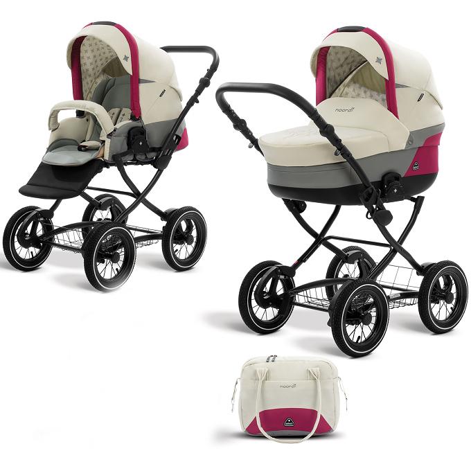 Коляска детская 2 в 1 - Polaris Classic, молочный/розовый