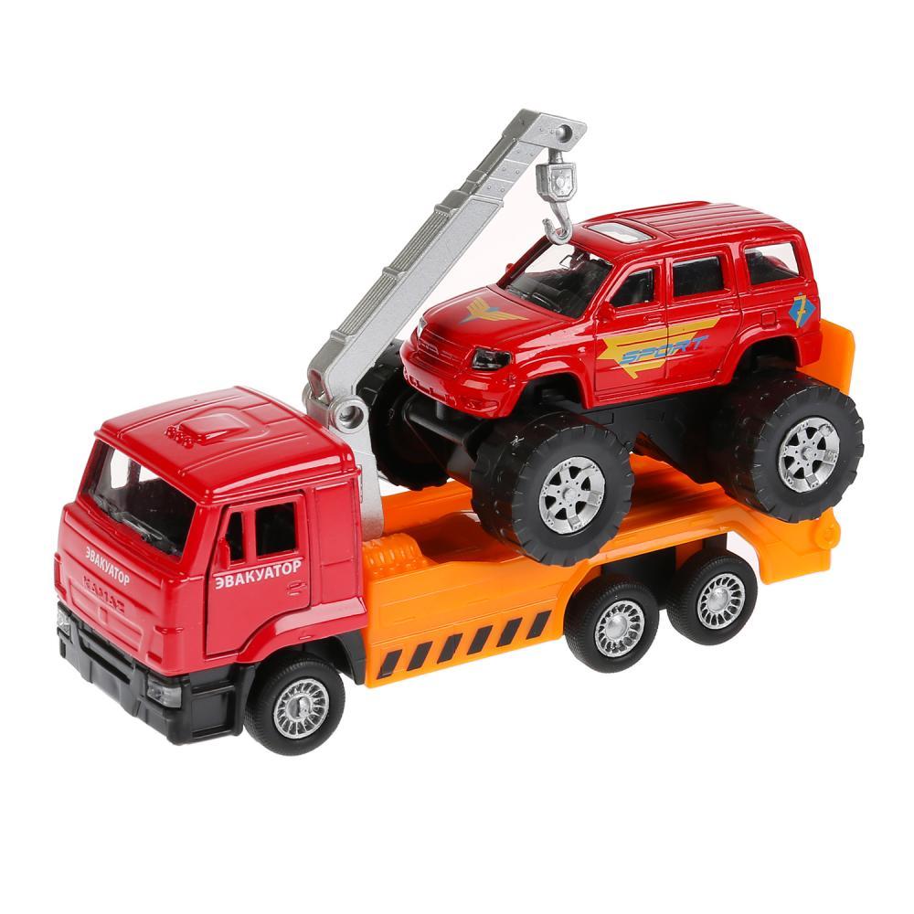 Набор моделей Камаз эвакуатор, 12 см, открываются двери, и УАЗ Patriot б/к, 7,5 см, инерционный фото