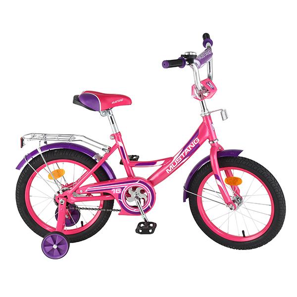 Детский велосипед – Mustang, 16, А-тип, розово-фиолетовыйВелосипеды детские<br>Детский велосипед – Mustang, 16, А-тип, розово-фиолетовый<br>