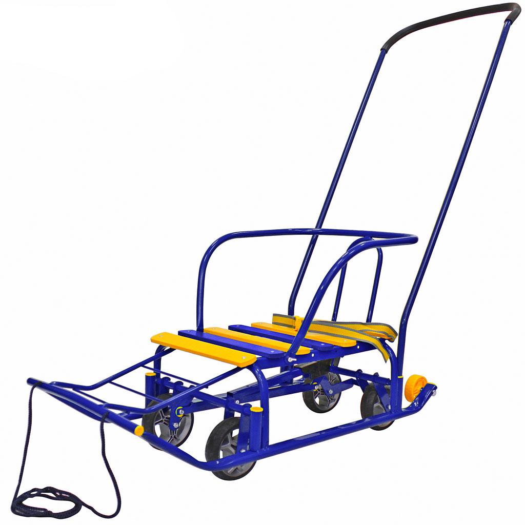 Снегомобиль на колесах, педальный принцип, цвет реек – синийСанки и сани-коляски<br>Снегомобиль на колесах, педальный принцип, цвет реек – синий<br>