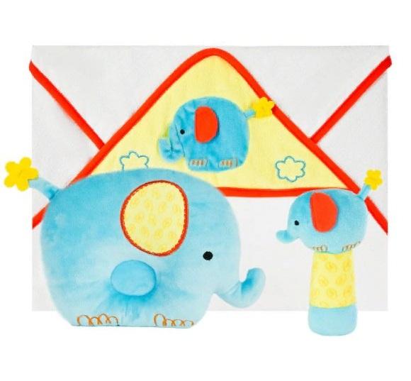 Купить Подарочный набор - Добрый слоник, полотенце, погремушка и подушка, Жирафики