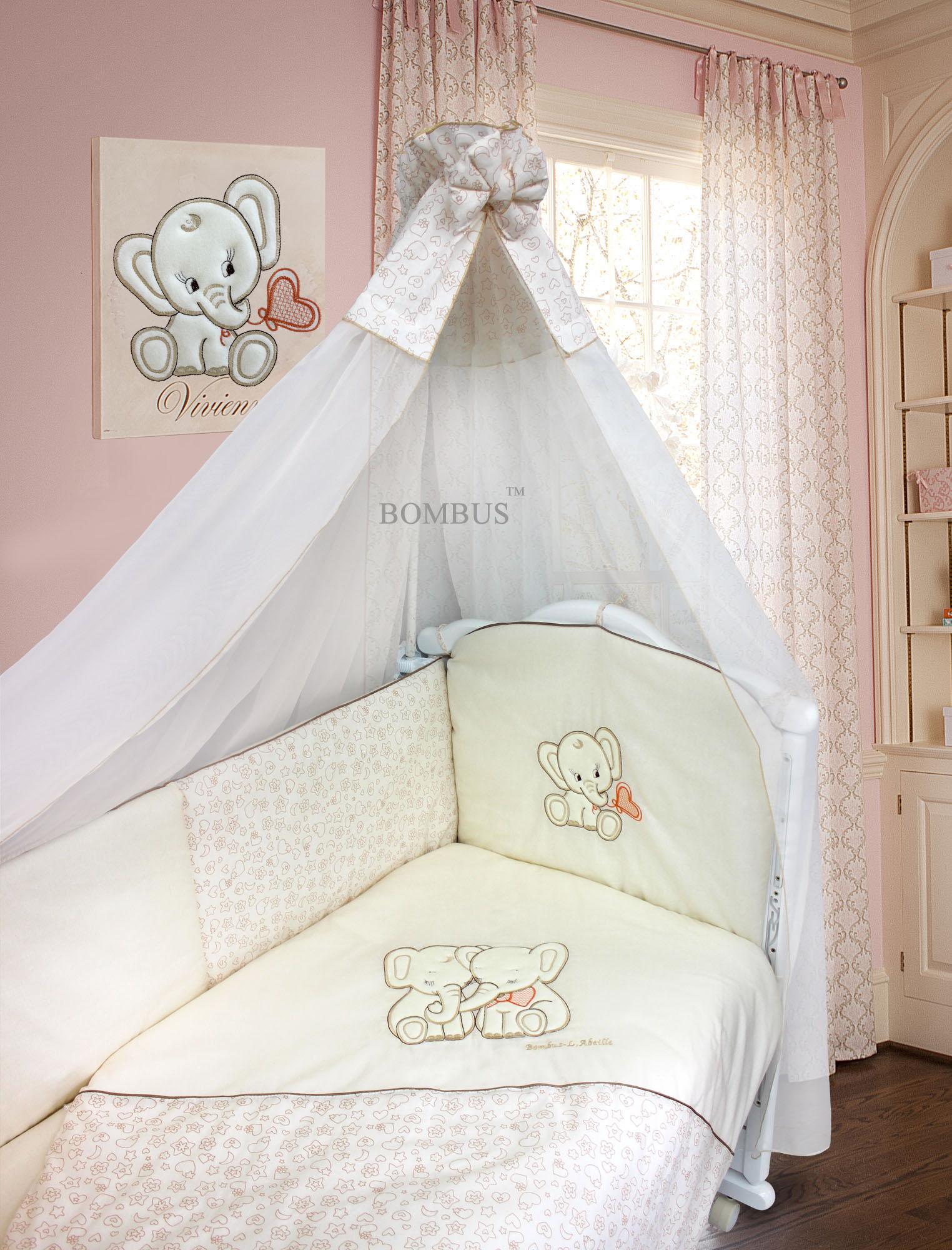 Комплект в кроватку – Элефантики, 7 предметовДетское постельное белье<br>Комплект в кроватку – Элефантики, 7 предметов<br>