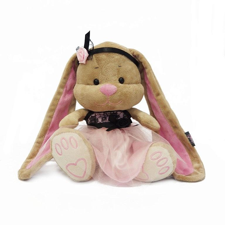Зайка Лин в розово-черном платьице, 25 смЗайки Жак и Лин (Jack&amp;Lin)<br>Зайка Лин в розово-черном платьице, 25 см<br>