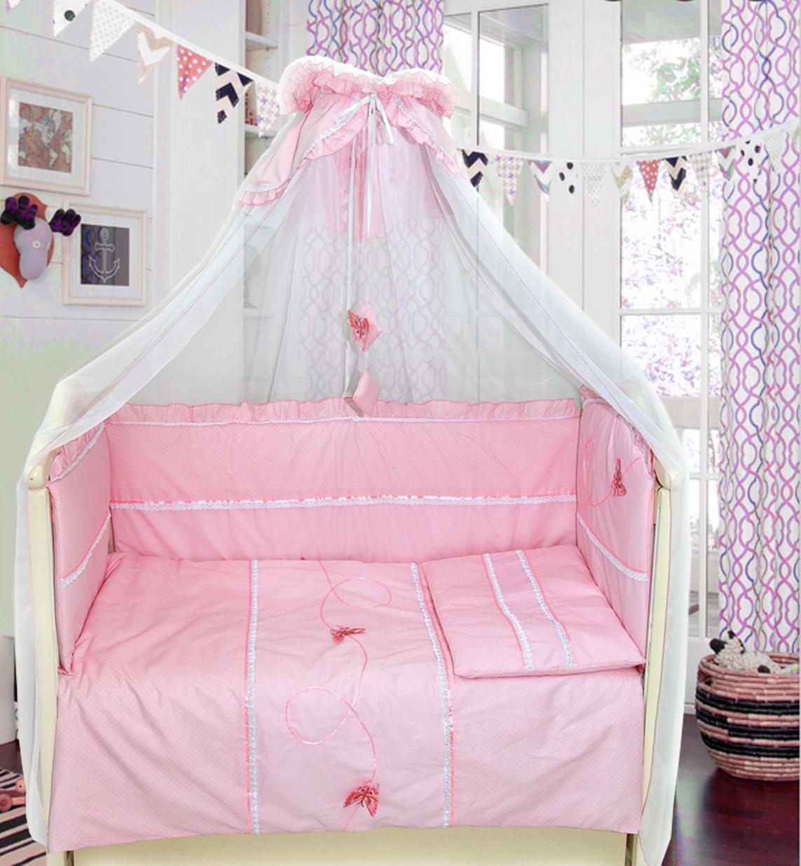 Комплект в кроватку - Бабочки, 7 предметов, розовыйДетское постельное белье<br>Комплект в кроватку - Бабочки, 7 предметов, розовый<br>