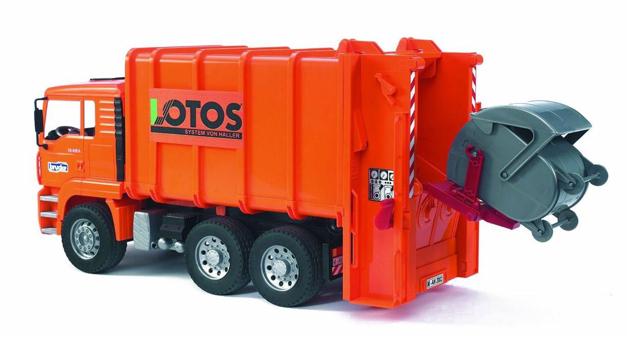 Мусоровоз MAN Bruder, 52 см.Мусоровозы<br>Игрушечный полнофункциональный мусоровоз Man <br>Замечательный мусоровоз для юных любителей профессиональной автомобильной техники...<br>
