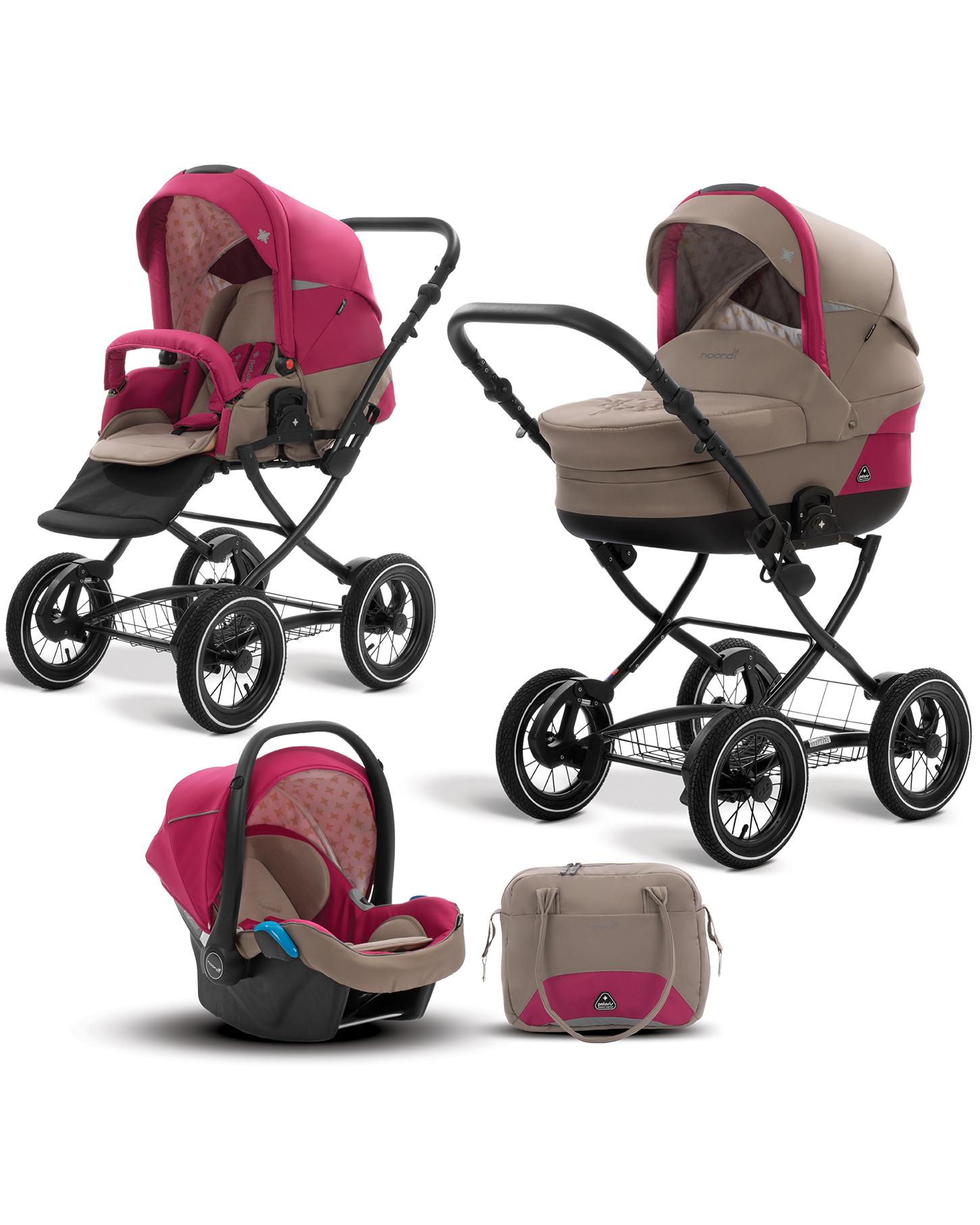 Коляска детская Noordi Polaris CL 3/1, коричневая с краснымДетские коляски 3 в 1<br>Коляска детская Noordi Polaris CL 3/1, коричневая с красным<br>