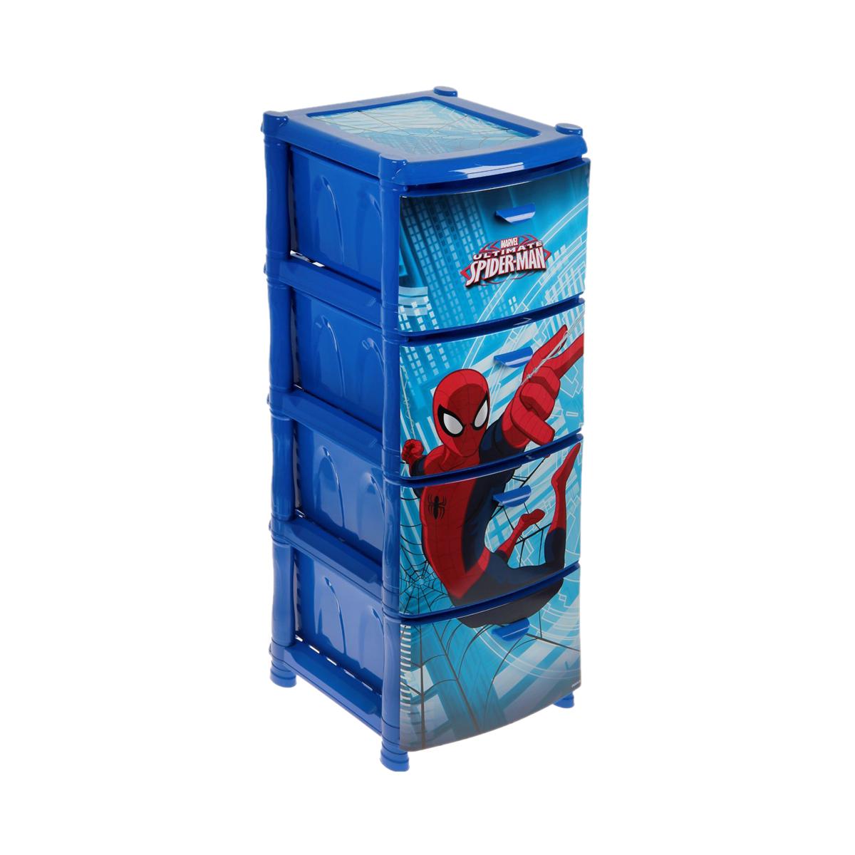 Комод  Человек паук, 4 секции, синийКорзины для игрушек<br>Комод  Человек паук, 4 секции, синий<br>