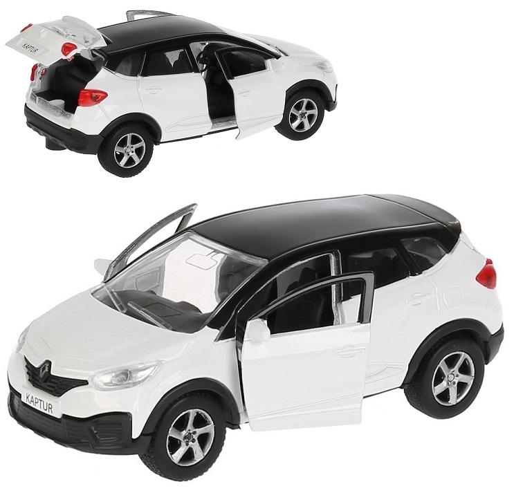 Инерционная металлическая машина - Renault Kaptur, бело-черный, 12 см, открываются двери Технопарк