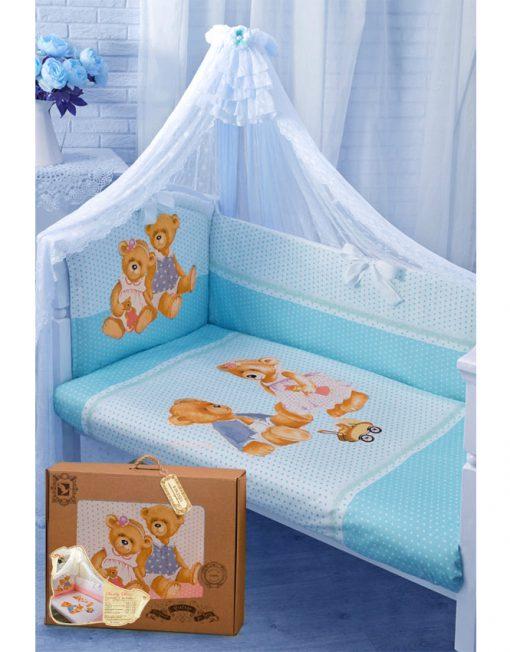 Комплект в кроватку – Sweety Bear, 7 предметов, голубойДетское постельное белье<br>Комплект в кроватку – Sweety Bear, 7 предметов, голубой<br>