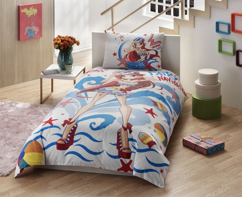 Купить Комплект детского постельного белья, Disney, 1, 5 спальное - WINX BLOOM OCEAN, Tac