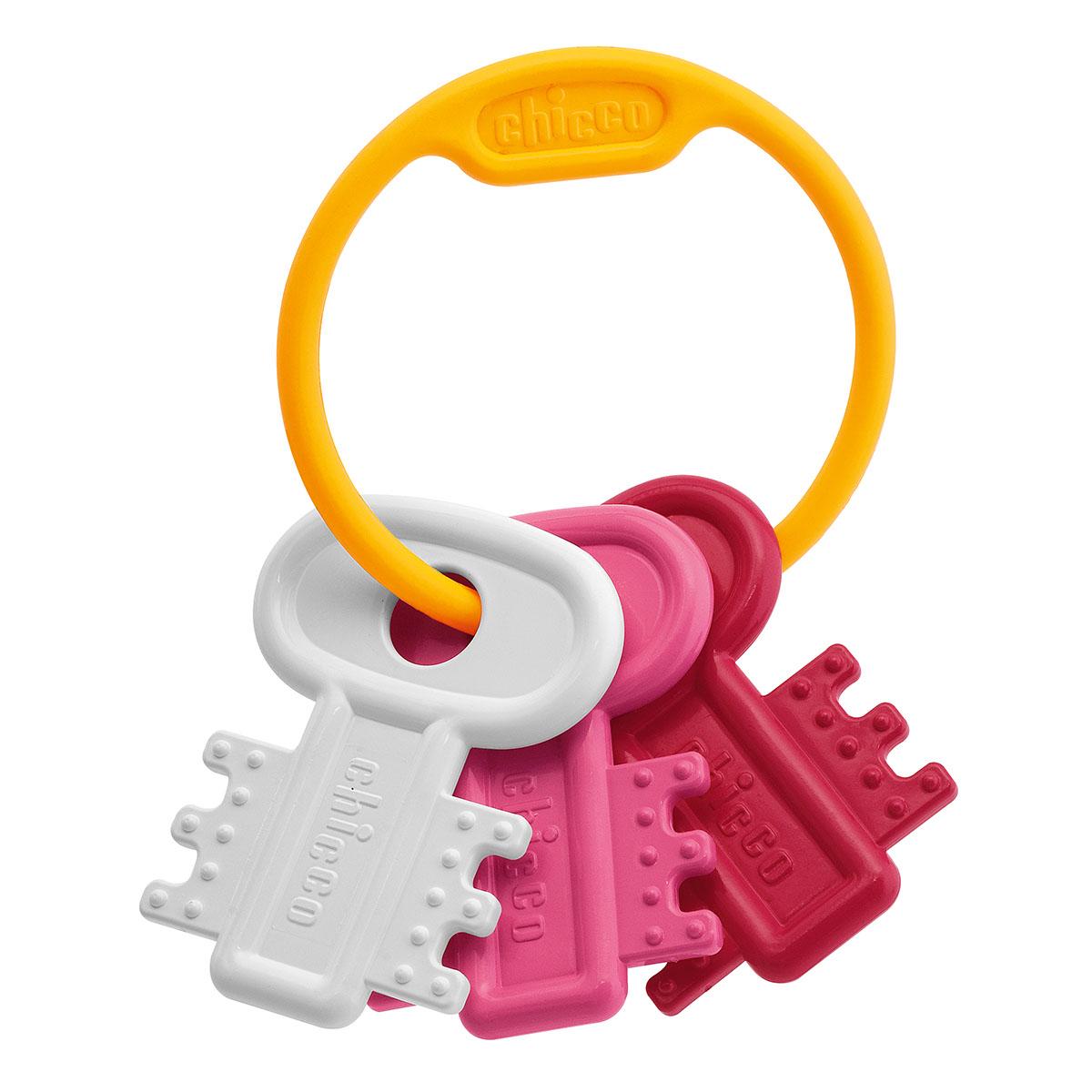 Погремушка-прорезыватель «Ключи на кольце», розовыеДетские погремушки и подвесные игрушки на кроватку<br>Погремушка-прорезыватель «Ключи на кольце», розовые<br>