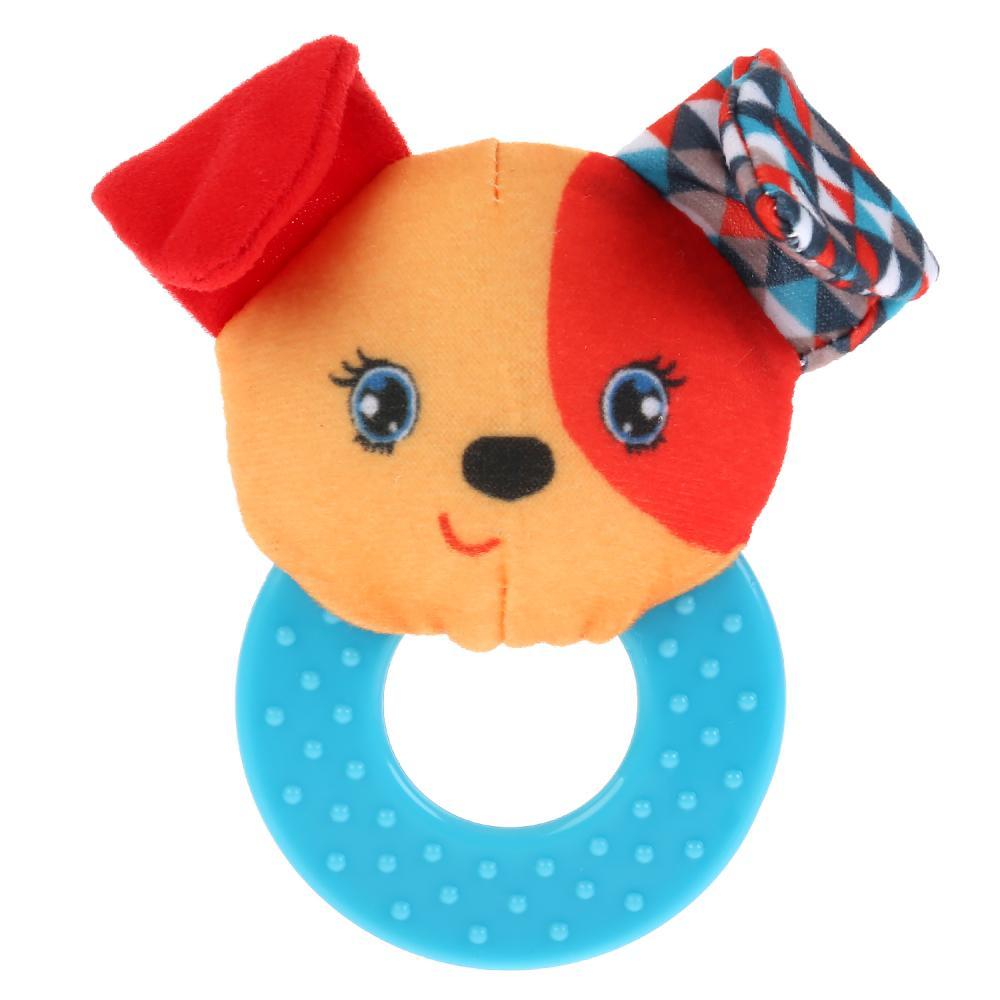 Текстильная игрушка погремушка с кольцом - Умная собачка фото