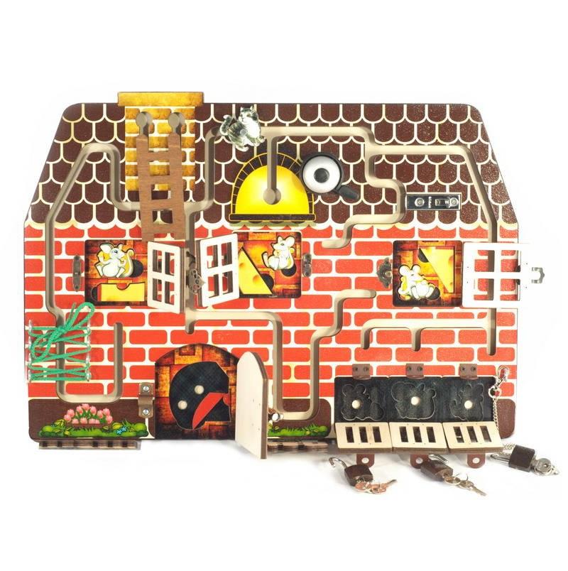 Развивающая доска №4  Кошки-мышки - Деревянные игрушки, артикул: 173843