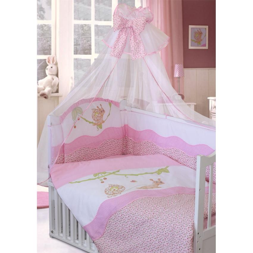 Комплект в кроватку – Улыбка, 7 предметов, розовыйДетское постельное белье<br>Комплект в кроватку – Улыбка, 7 предметов, розовый<br>