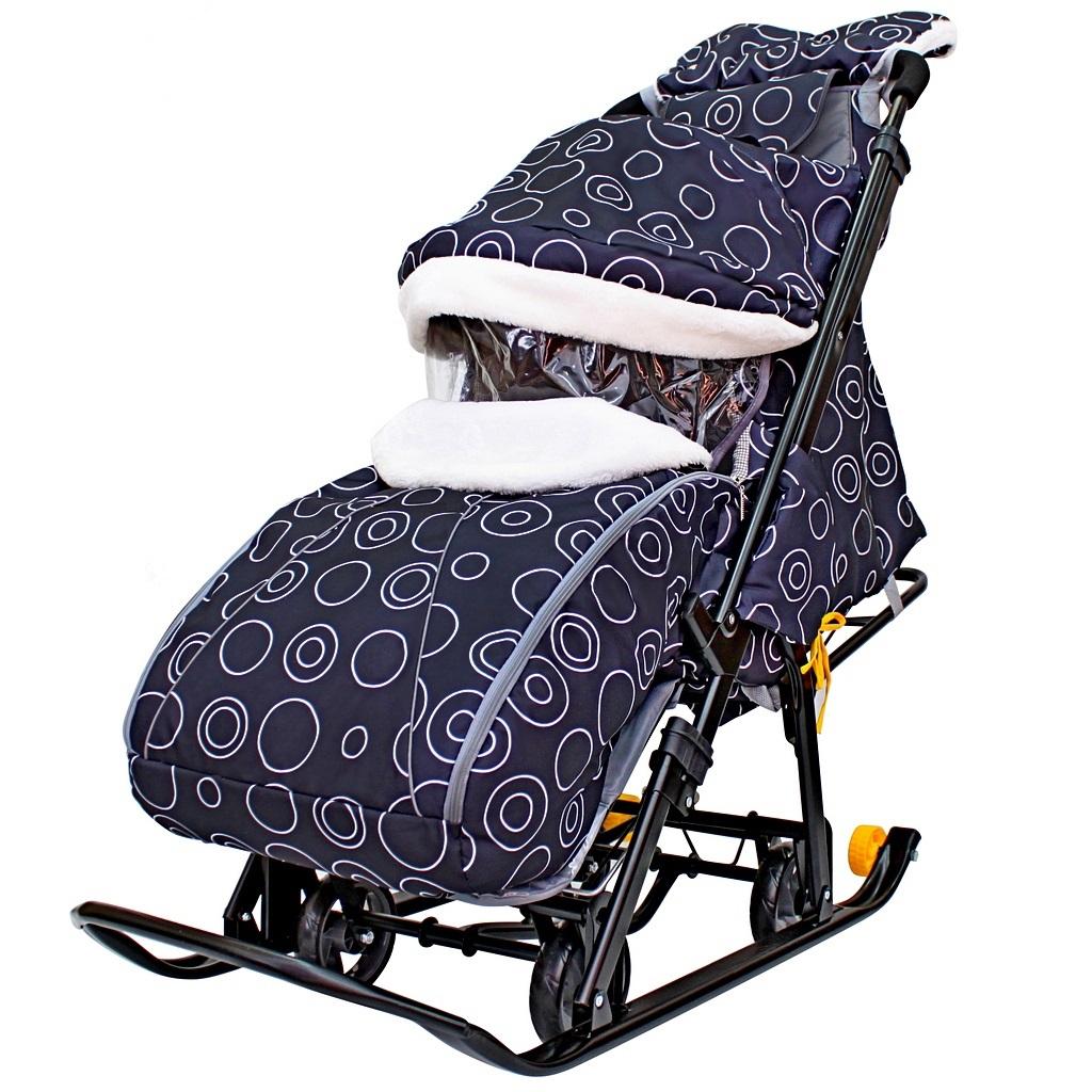 Санки-коляска Snow Galaxy Luxe - на больших мягких колесах с сумкой и муфтой  - купить со скидкой
