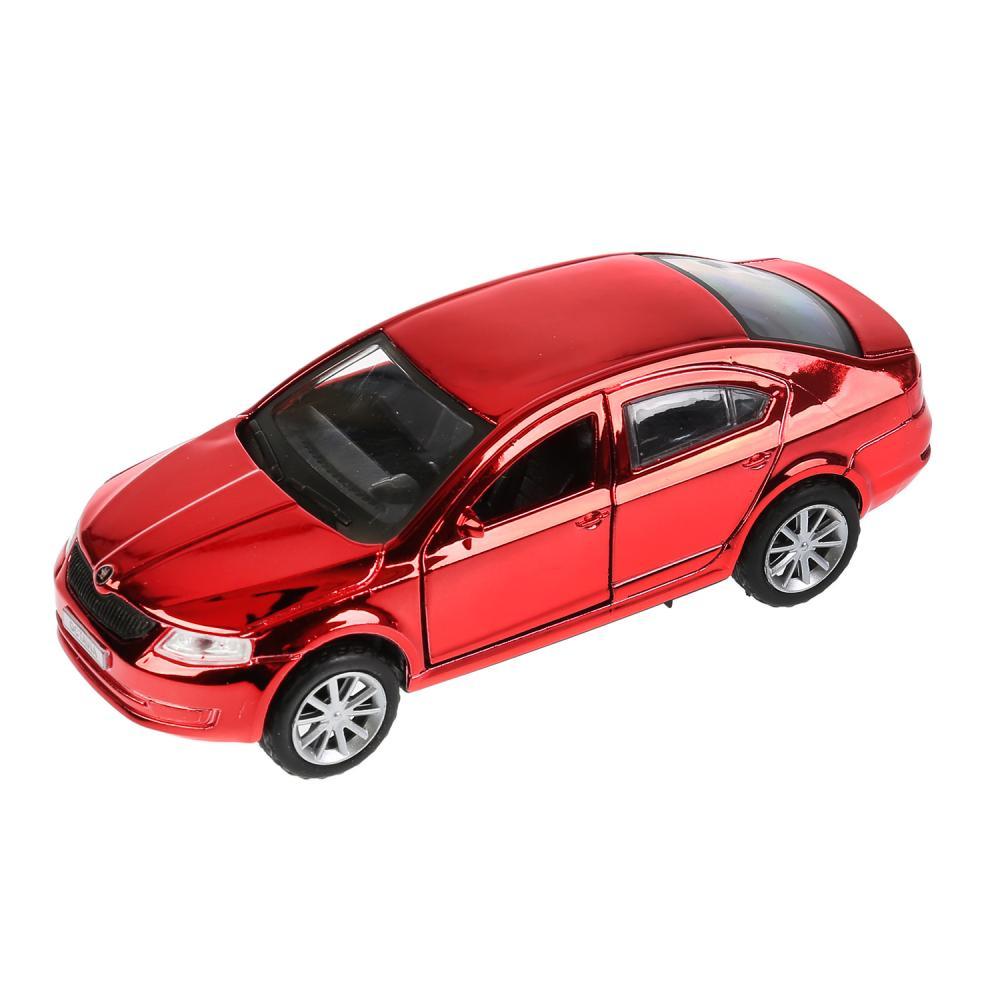 Машина металлическая Skoda Octavia, цвет - хром красный, 12 см., открываются двери, инерционная Технопарк