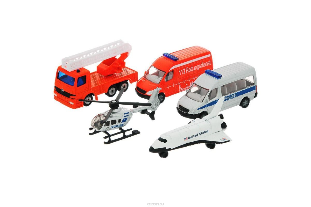 Игровой набор Вертолет, самолет, 2 микроавтобуса и пожарная машина