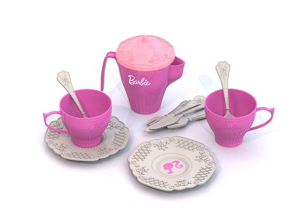 Набор чайной посудки Barbie - 12 предметов в сеткеАксессуары и техника для детской кухни<br>Набор чайной посудки Barbie - 12 предметов в сетке<br>