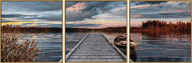 Триптих для раскрашивания по номерам - Восход на озере, 120 х 40 см.Раскраски по номерам Schipper<br>Триптих для раскрашивания по номерам - Восход на озере, 120 х 40 см.<br>