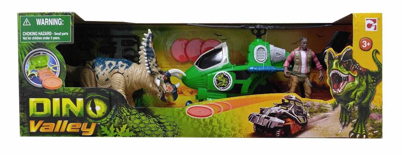 Набор - Динозавр Трицератопс и охотник на вертолетеЖизнь динозавров (Prehistoric)<br>Набор - Динозавр Трицератопс и охотник на вертолете<br>