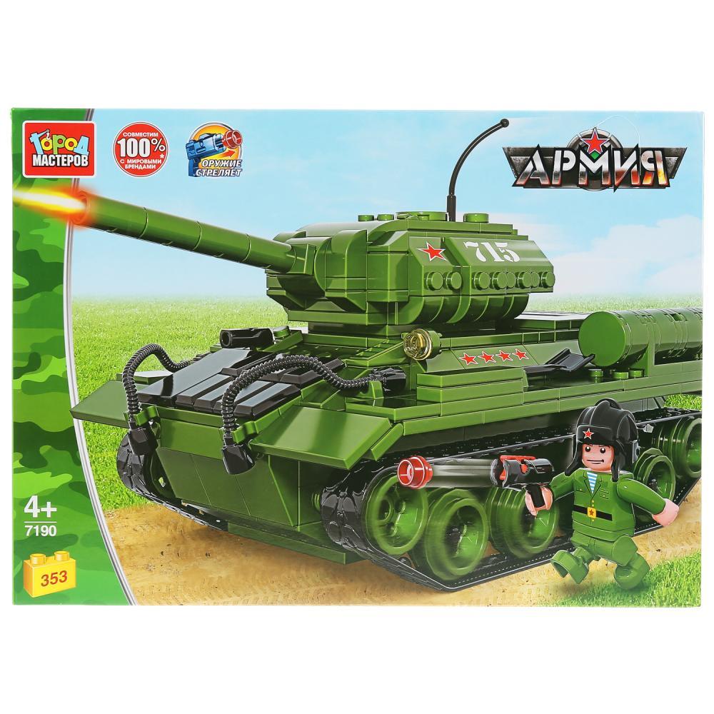 Купить Конструктор Танк Т-34, с фигуркой, 353 детали, Город мастеров